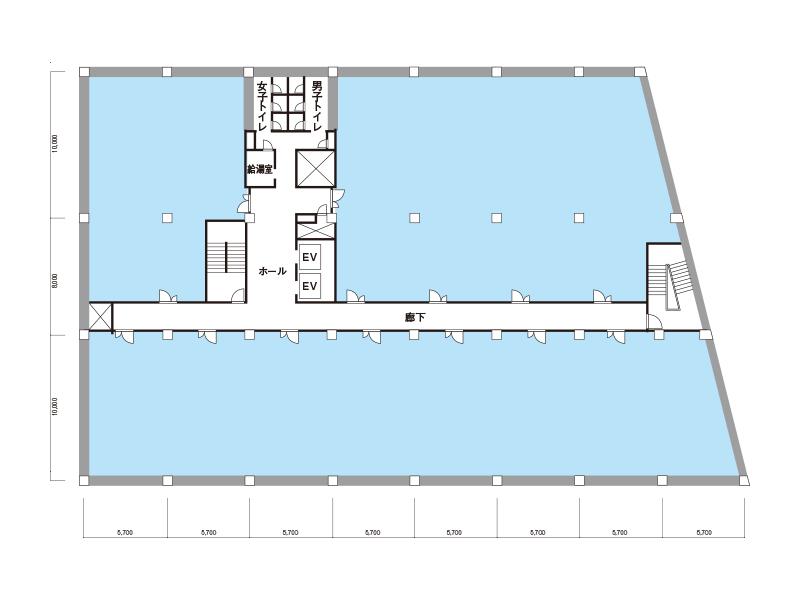 基準階貸室面積(2-7階)