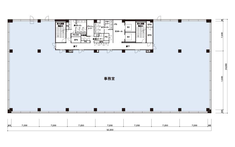 基準階貸室面積(3-5階) 1,056.12㎡(319.47坪)